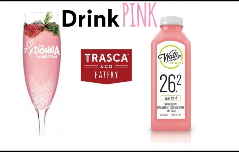 Pink Mimosa and watts juice and trasca eatery logo