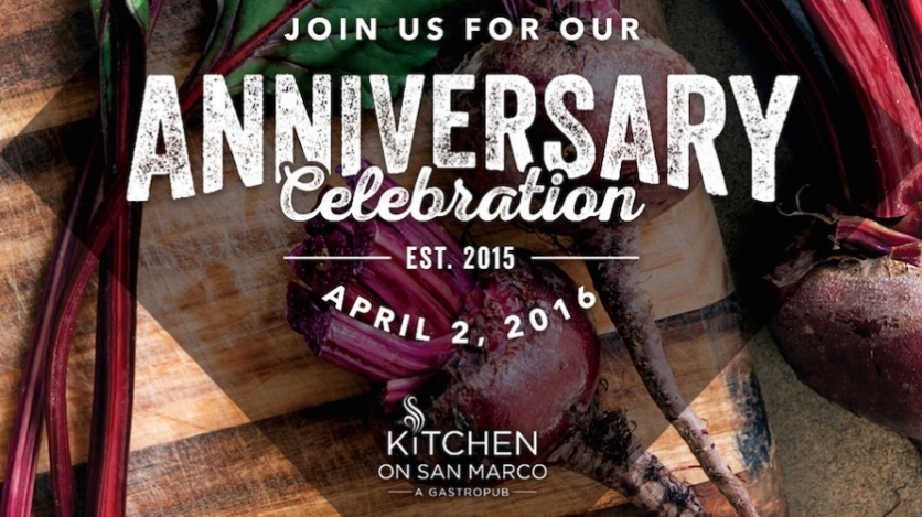 kitchen on san marco anniversary party announcement