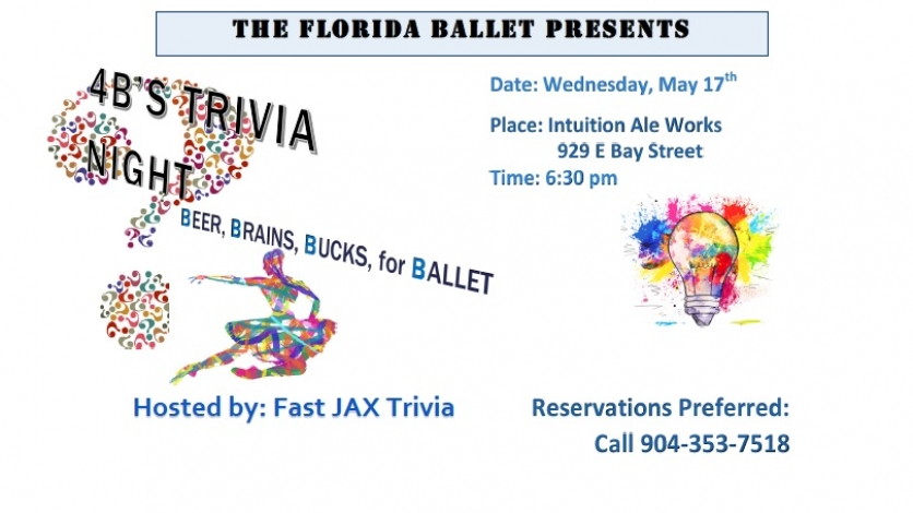 The Florida Ballet presents: 4Bs Trivia Night - Beer, Brains, Bucks, for Ballet