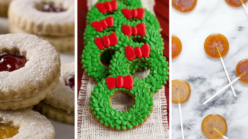 holiday linzer cookies, holiday wreaths with green frosting, grand marnier lollipops on marble