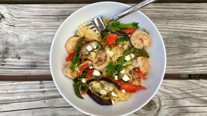 shrimp spaghetti squash bowl