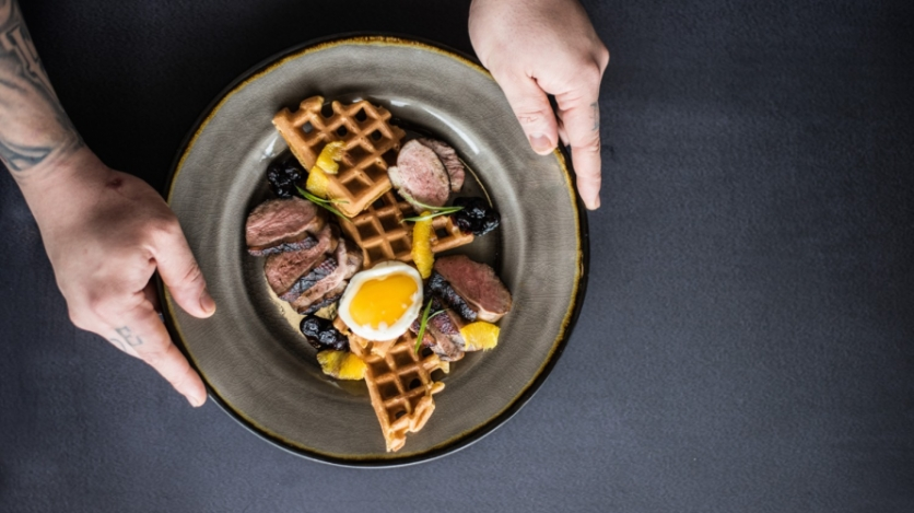 Sweet potato waffles and duck with egg