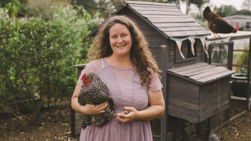 Chicken Coop owner with Chicken and coop