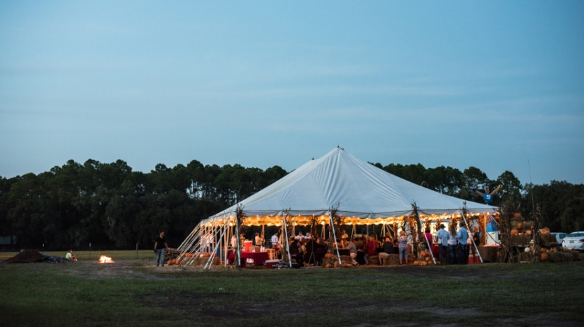 Rype and Readi tent at night in elkton florida