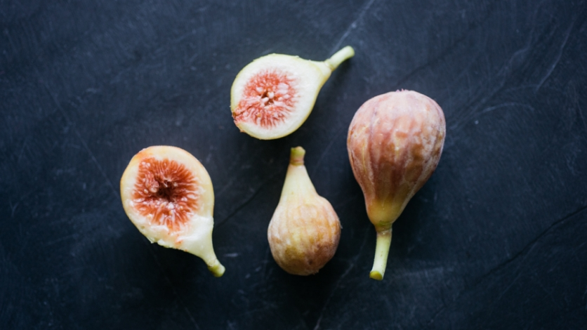 Celeste Figs cut open on slate