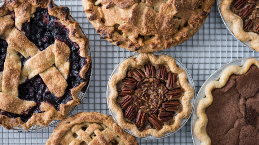 Holiday pies pecan blueberry apple
