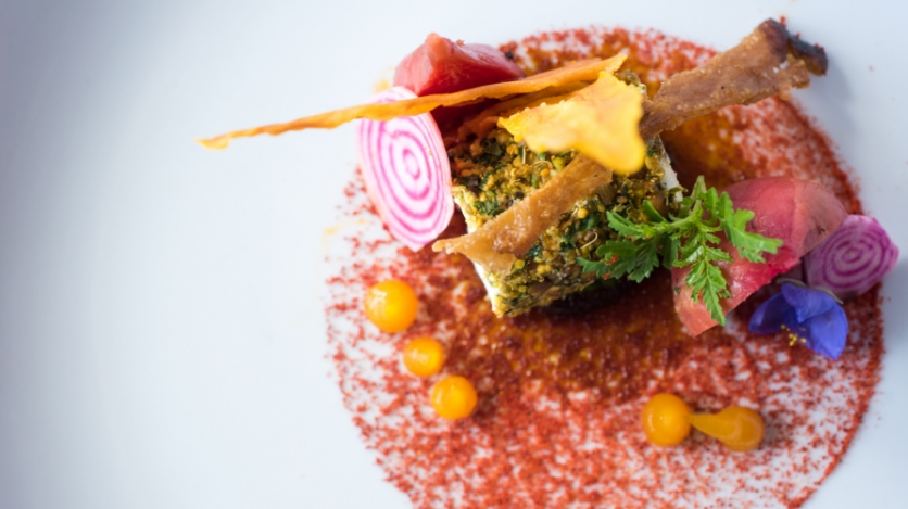 Bee pollen crusted goat cheese
