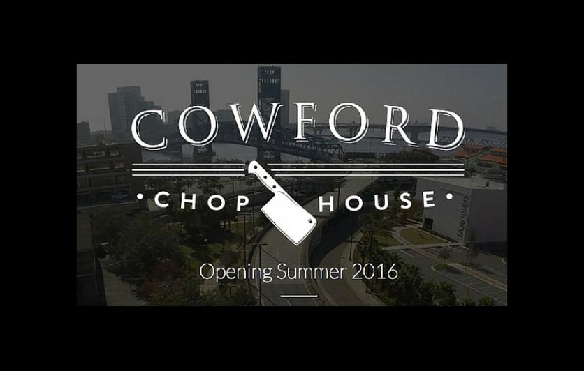 Cowford Chophouse logo jacksonville Florida in background