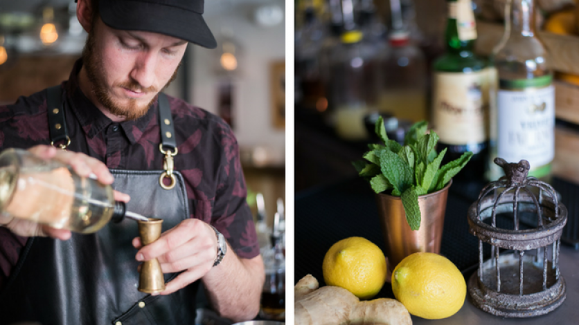 Nick Hogan making cocktail at Odd Birds