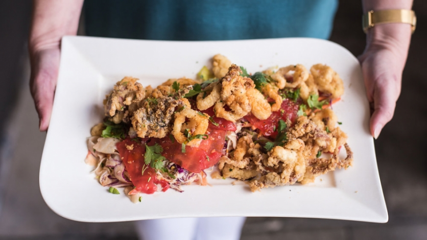 Calamari on a plate at Moxie Kitchen and Cocktails