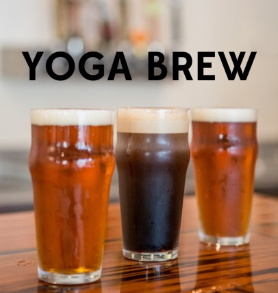 Yoga Brew with three beer pints at Trasca and Co eatery in ponte vedra beach florida