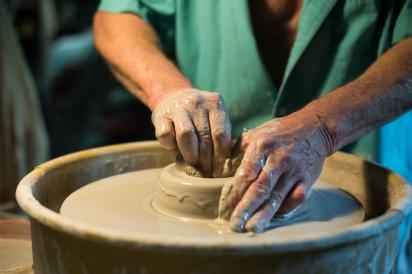 Bob Heim working on pottery