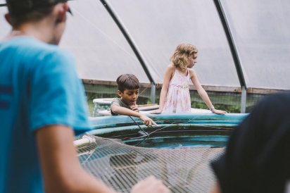 kids at aquaponic pool with fish