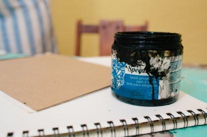 ink for a diy linoleum stamp