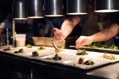 Plating food at Fish to Fork