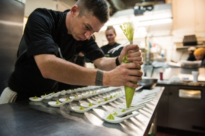 Chef Ryan Ruffell piping avocado mousse