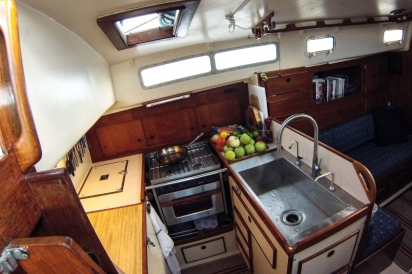 the galley of a sailboat