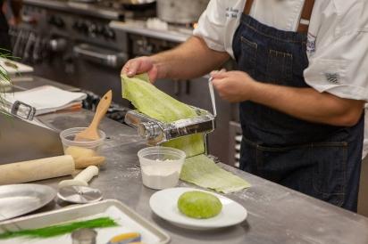 making pasta with microgreens