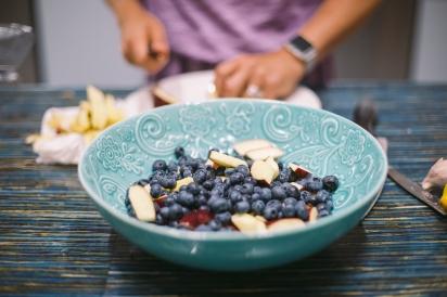cut fruit in bowl