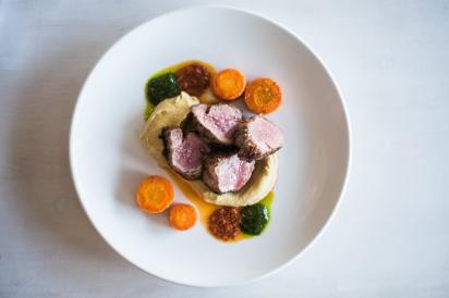 Lamb Ribeye with Cauliflower Puree by Chef Chris Polidoro