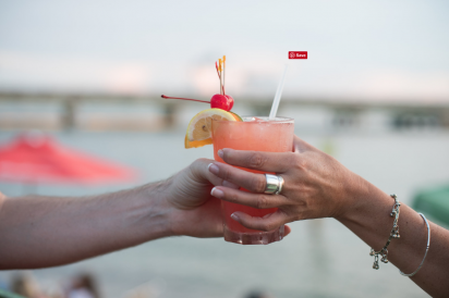 Cocktail hand-off at the marina