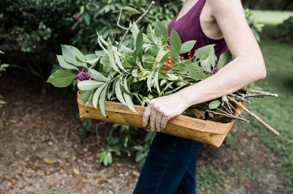 Becky Cardenas with foraged plants