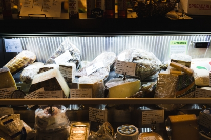 cheese in display case