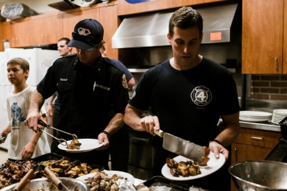 Firefighters Getting Ready to Eat