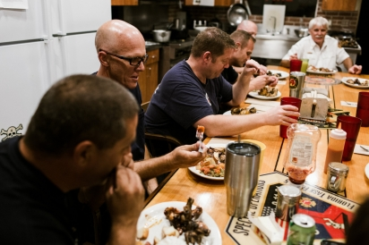 Firefighters Eat Meals Together