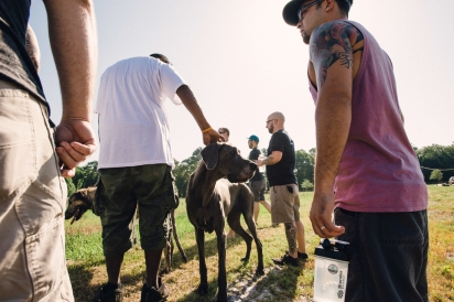 Restaurant Orsay team greet the dog owners of the Congaree and Penn farm