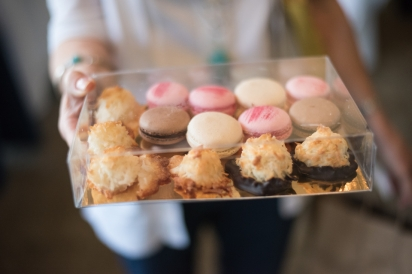 A tray of macarons and macaroons