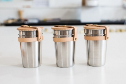 portable leather and stainless steel cups