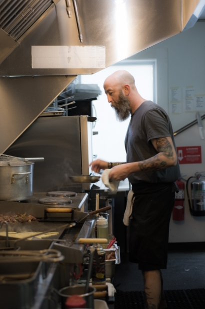 Cook on the line at the Blue Hen Cafe