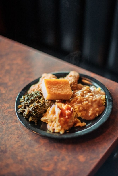 A plate of food at  Potter's Soul Food Bistro