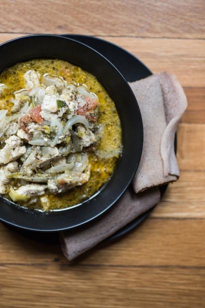 Chicken Tibs and injera