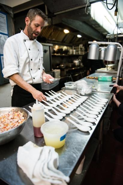 Chef Matt Brown prepping appetizer
