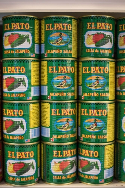 Pato salsa in green cans at pepes hacienda in jacksonville florida