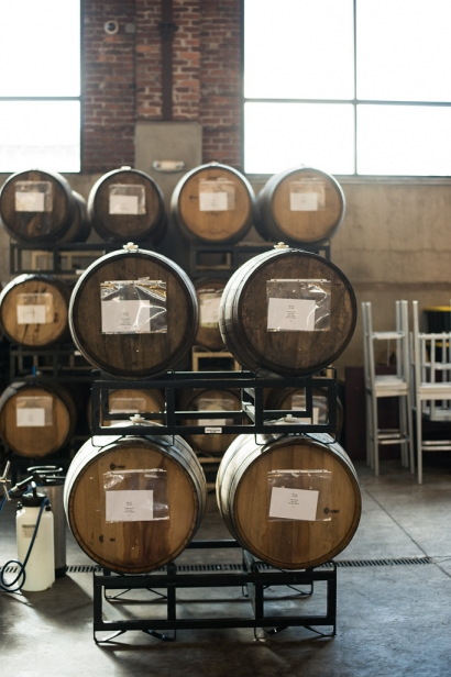 beer barrels at Aardwolf brewing