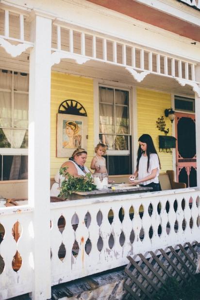 making salt dough ornaments on front porch St. Augustine