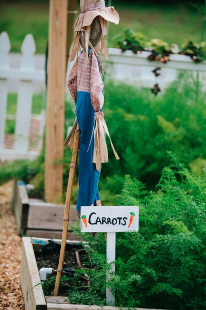 a sign indicating carrots are growing in the garden and a scarecrow at Beam garden in jax beach