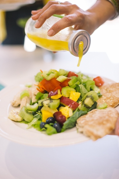 vinaigrette over salad