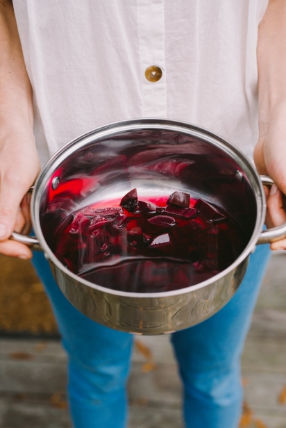 Beets stewing in a pot for easter egg dye