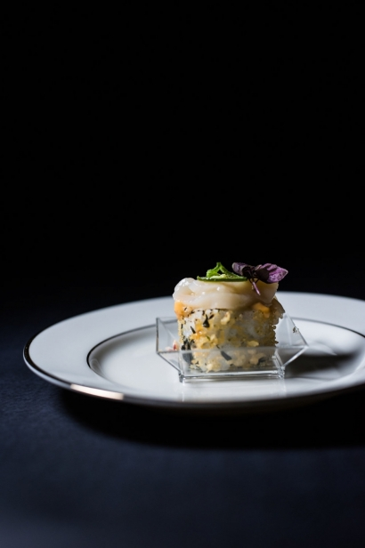 Lobster Roll Topped with Scallop Crudo and Crispy Jalapeno