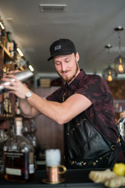 Nick hogan making cocktails at odd birds