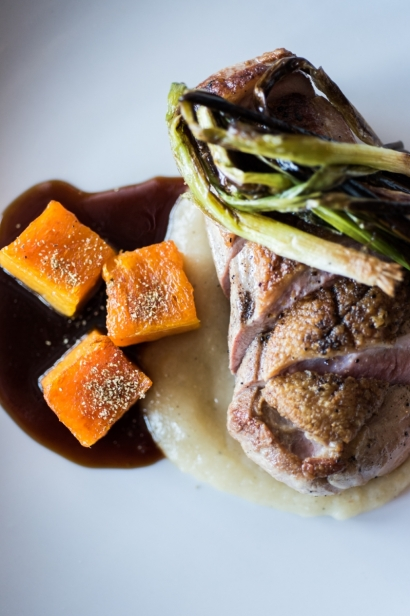 Dish with seasonal ingredients at Restaurant Doro