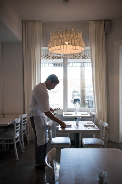 Chef Chris Polidoro in the Dining Room at Restaurant Doro