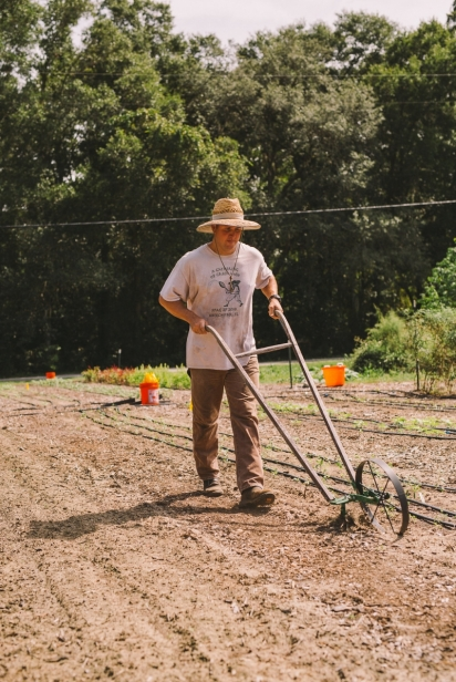 Ryan Lee working in the field.