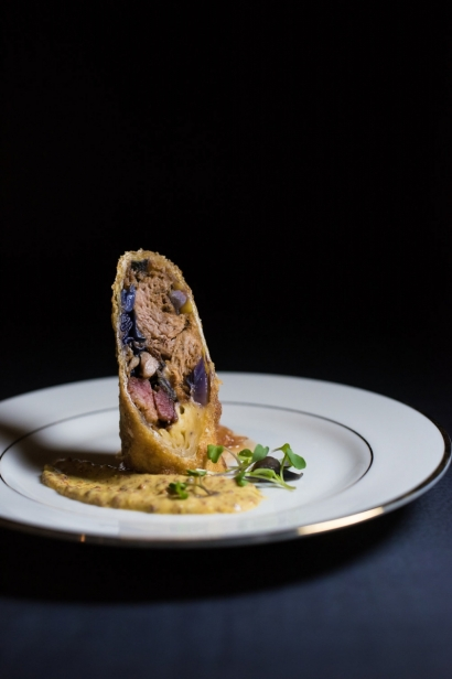smoked pork and purple cabbage egg roll