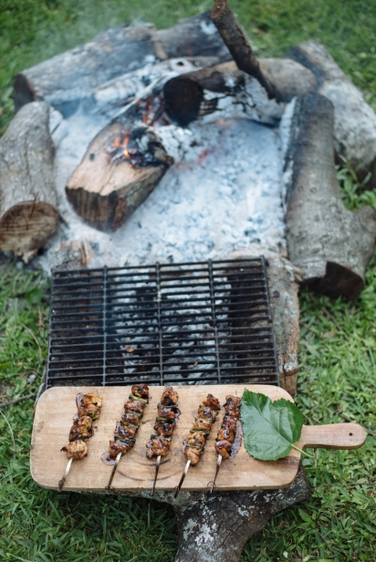 campfire ring with grill and chicken skewers