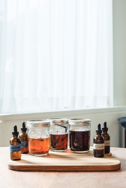 An assortment of shrubs and tinctures for craft cocktails in northeast florida